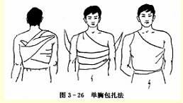 单胸三角巾包扎法