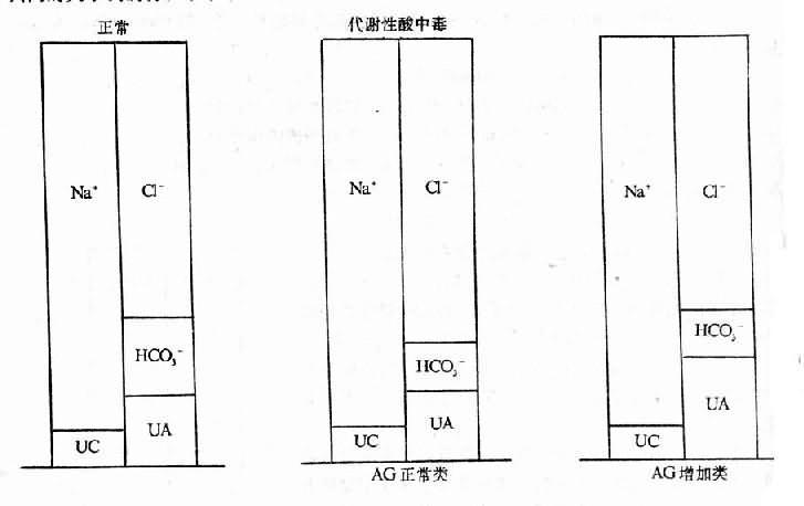 正常和代谢性酸中毒时的负离子间隙改变类型