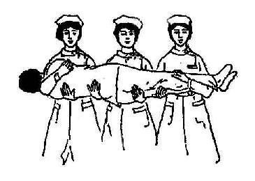 三人搬运病人