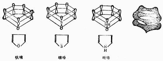 呋喃、噻吩和苯的分子结构