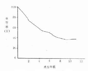 607例乳腺癌术后生存率曲线