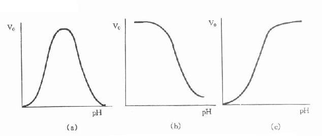 酶活性与pH的函数关系曲线可能具有的几种形状