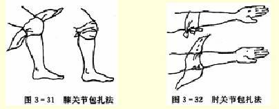 膝(肘)关节三角巾包扎法