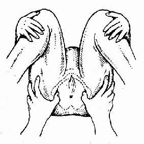 仰卧曲腿,孕妇双手抱膝,测量两坐骨结节间距离