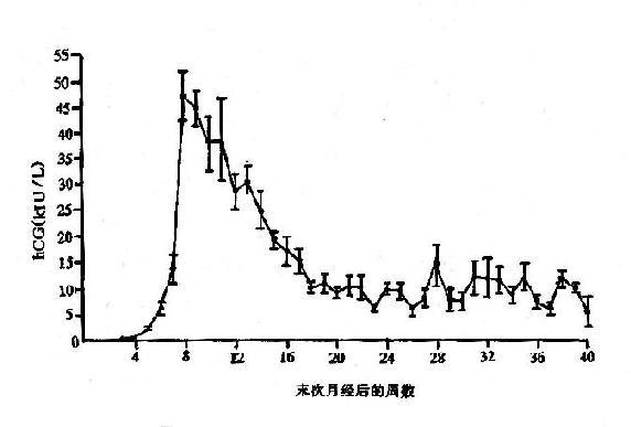 正常妊娠婦女血清中HCG平均值