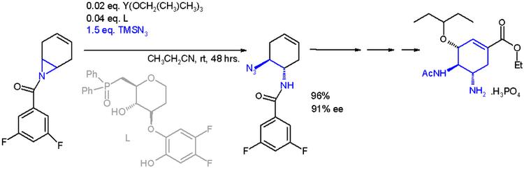 奥司他韦全合成中的氮丙环开环反应