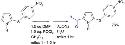 吡咯的Vilsmeier-Haack反應其中巰基作為保護基,可在蘭尼鎳催化下加氫脫去。