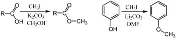 碘甲烷甲基化羧酸盐和苯酚